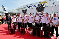 Arrival of the German national team after their victory at the FIFA World Cup 2014 at Tegel, Berlin, Germany Airport