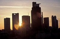 Color , Frankfurt am Main at sunrise. Sun between Frankfurt skyline skyscrapercity silhouette business center , No people ,