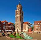 market place and St Lamberti Church, Germany, North Rhine-Westphalia, Coesfeld
