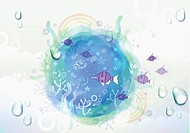 a template with fishes in the sea