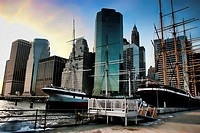 South Street Seaport at sunset. The South Street Seaport is a historic area in the New York City borough of Manhattan, located where Fulton Street mee...