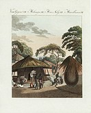 Village life of the Batswana people, South Africa, modern Botswana. The villagers can be seen with leaf parasols cooking in front of wooden houses and...