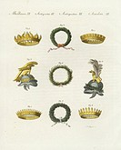 Crowns of the ancients: radial crowns 1,2, laurel wreaths 3,4, civic crown 5, Obsidionalis (for generals who delivered a town under siege) 6, crenella...