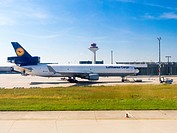 Germany, Hesse, Frankfurt, Douglas DC-10 of Lufthansa Cargo at airport