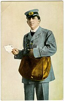 Postman with Two Letters, Hand-Colored Postcard, USA, circa 1910