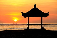 Pagoda at Sunrise, Sanur. Bali