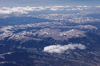 Aerial view of part of the Rocky Mountain range south of Aspen, Colorado.