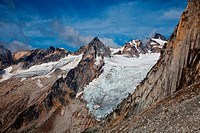 Glaciers and peaks in Bugaboo Provincial Park, British Columbia, Canada.