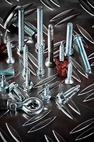 Varied screws and bolts, close up