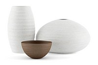 three white and brown ceramic vases isolated