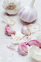 Close up of garlic bulbs and cloves