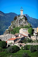 The village of Sigale in the Esteron Valley, Prealpes d´Azur regional park, Alpes-Maritimes, Provence-Alpes-Côte d´Azur, France.