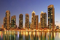Dubai Downtown at Dusk, United Arab Emirates.