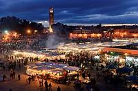 Marocco, Africa, Place Djemaa El Fna, Marrakech, Moschee El Mouassine