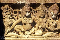Detail of reliefs in the Terrace of Elephants, in Angkor Thom, the capital city of the Khmer empire, XIIth century. Angkor, Siem Reap Province, Cambod...