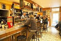 Café in Colmars or Colmars-les-Alpes, Alpes-de-Haute-Provence, Provence-Alpes-Côte d'Azur, France