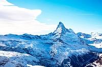 Matterhorn peak in winter in Switzerland