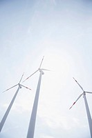 Three wind turbines energy electricity