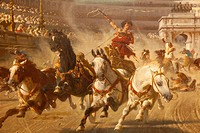 England, Manchester, city, Manchester Art Gallery, Painting Titled , Chariot Race dated about 1882 by Alexander Von Wagner