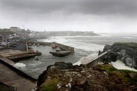 harbor of Portstewart during stormy weather.