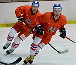 Czech Republic players Bohumil Jank (left) and Petr Zamorsky are seen during a training session of Czech national ice hockey team, in Prague, Czech Re...