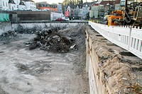 preparation for an new building, construction site in the city, Germany