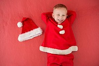 Little boy in santa costume