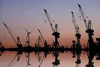 Harbor cranes at dawn, harbor, Hamburg, Germany