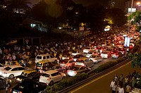 Traffic Jam on Road with Long Row of Cars and Peoples Mumbai India Asia