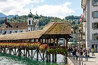 Chapel Bridge, Lucerne, Lake Lucerne, Switzerland