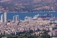 Turkey, Izmir, Aegean Region, Cruise liners in the harbour