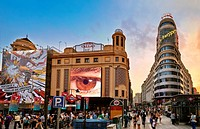 Callao square with Carrion building at the right hand side. Madrid. Spain.