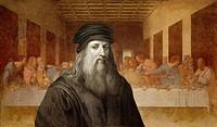 Fresko The Last Supper, in front Leonardo da Vinci, Italian painter, sculptor, architect, engineer, historical illustration