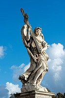 Angel with the Cross (Angelo con la Croce), by Ercole Ferrata, angel statues with symbols of the Passion by Bernini, Ponte Sant'Angelo, Rome, Lazio, I...