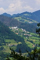Lazec, near Cerkno, Littoral Region, Slovenia. Typical mountain town.
