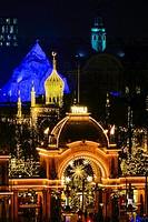 Main entrance to Tivoli with Christmas decoration, Copenhagen, Denmark, Europe.