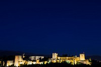 Spain, Granada. The famous Alhambra Royal Palace by night from the best viewpoint.