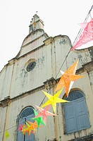 Colourful decorations outside catholic church in Cochin, Kerala