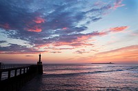 Harbour Light and Coquet Island at Dawn Amble by the Sea Northumberland England.