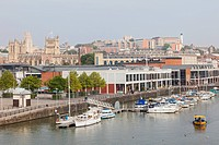 England, Somerset, Bristol, Waterfront and City Skyline