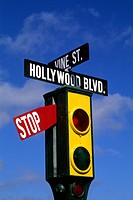 Famous Los Angeles Hoolywood landmark in California USA Corner of Hollywood and Vine - 01/01/2014