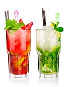 Two mojito cocktails with strawberry and lime fruits isolated