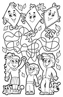 Maze 9 coloring book with children - picture illustration.