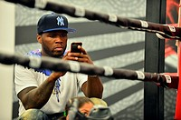 50 Cent attends 'Yuriorkis Gamboa Open Media Workout' to promote the World Boxing Organization lightweight title of Terence Crawford vs.Yuriorkis Gamb...