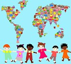 Children of different races with toys, planet-plan