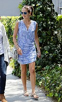 Camilla Belle leaving after having lunch at Lemonade restaurant. She wore a light summer dress and sandals in the style of a serpent Featuring: Camill...