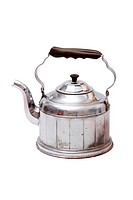 Old vintage tea kettle on white background