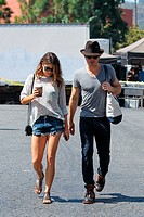 Ian Somerhalder and girlfriend Nikki Reed shopping at Studio City Farmers Market Featuring: Ian Somerhalder,Nikki Reed Where: Los Angeles, California,...