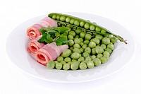 Fresh peas and ham rolls.