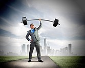 Image of strong businessman lifting barbell above head with one hand
